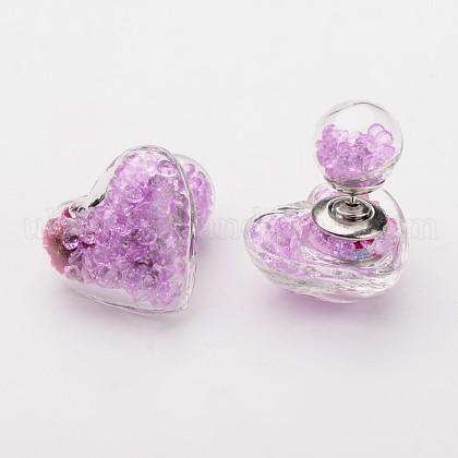 Heart Double Sided Glass Ball Stud EarringsUK-EJEW-F035-05A-K-1