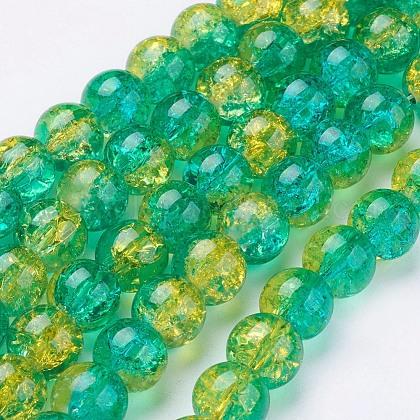 Spray Painted Crackle Glass Beads StrandsUK-CCG-Q002-10mm-07-K-1