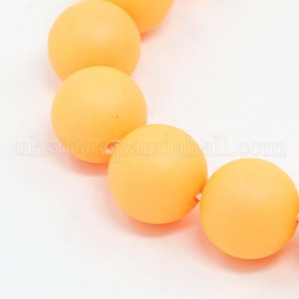 Round Shell Pearl Frosted Beads StrandsUK-BSHE-I002-6mm-01-K-1