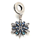 Antique Silver Plated Thai Sterling Silver Micro Pave Cubic Zirconia European Dangle BeadsUK-CPDL-E037-62-K-1