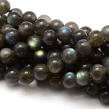 Grade AA Natural Gemstone Labradorite Round Beads StrandsUK-G-E251-33-6mm-1