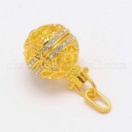 Brass Rhinestone Cage PendantsUK-KK-E649-01G-NR-K-1