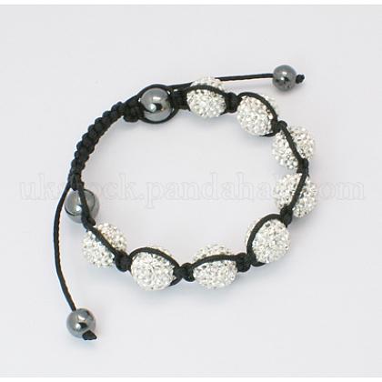 Diamond Braided Ball BraceletsUK-BJEW-B088-1-K-1