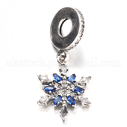 Antique Silver Plated Thai Sterling Silver Micro Pave Cubic Zirconia European Dangle BeadsUK-CPDL-E037-67B-K-1