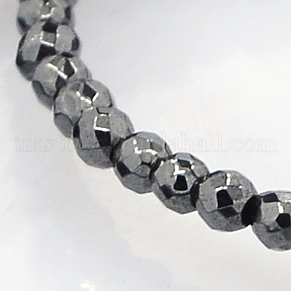 Faceted Round Non-magnetic Synthetic Hematite Beads StrandsUK-G-P061-60-2mm-1