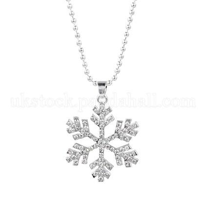 Alloy Rhinestone Snowflake Pendant NecklacesUK-NJEW-F087-05B-1