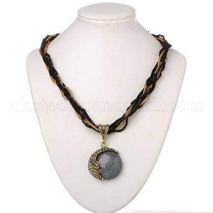 Antique Golden Plated Alloy Rhinestone Resin Pendant NecklacesUK-NJEW-JL003-05-1