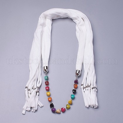 Simple Design Women's Beaded Cloth Scarf NecklacesUK-NJEW-K111-02E-1